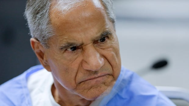 Sirhan Sirhan reacts during a parole hearing Wednesday at the Richard J. Donovan Correctional Facility in San Diego. F