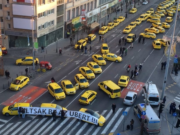 Hungary anti-Uber Taxi Protest Jan 18 2016