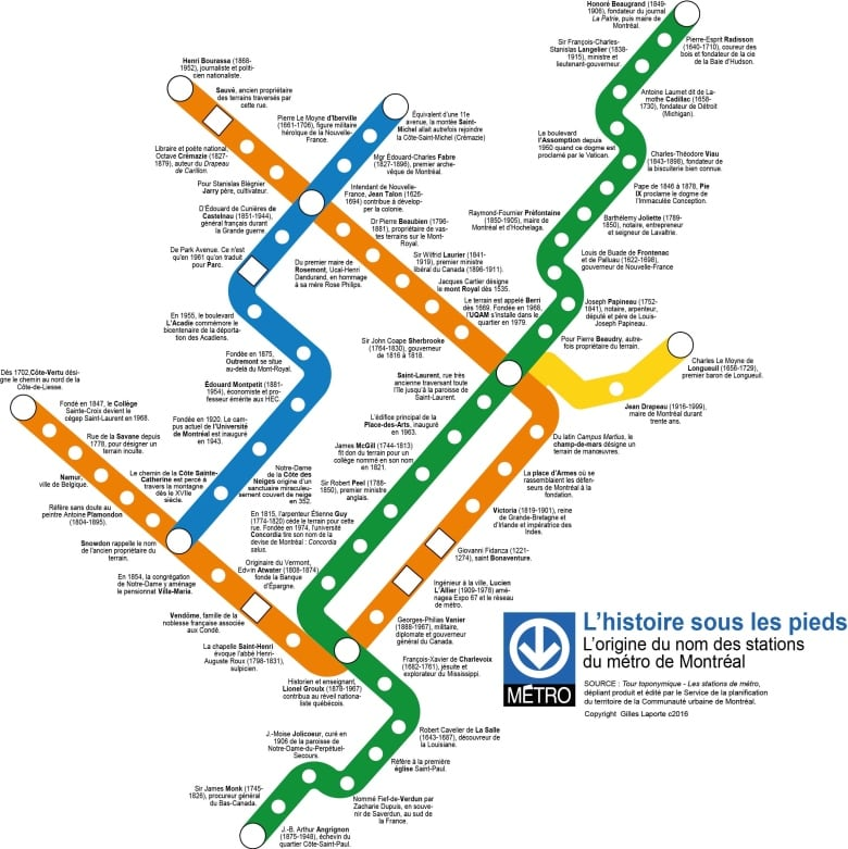 Montrela Subway Map.New Map Shows How Montreal S 68 Metro Stations Got Their Names Cbc
