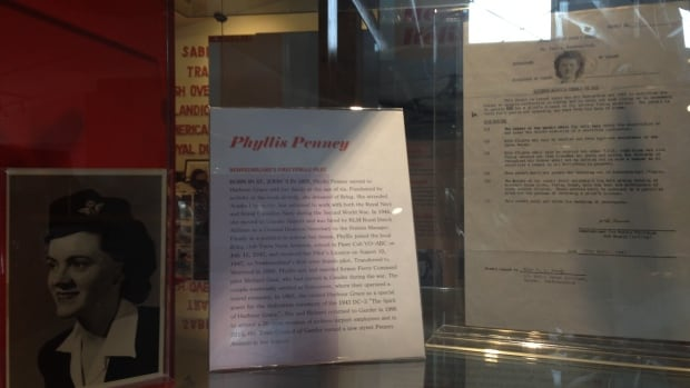 A display at the North Atlantic Aviation Museum in Gander pays tribute to Phyllis Penney-Gaul and includes a copy of her original student pilot permit.