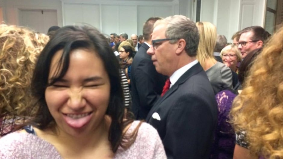 Cree activist and student Erica Violet Lee took this selfie at the 2015 Paris climate change summit, while Saskatchewan Premier Brad Wall walked behind her.