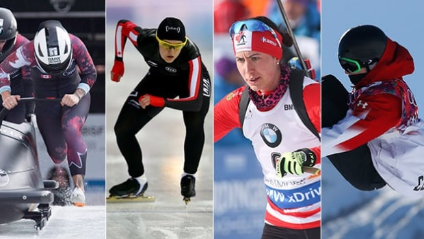 From left to right, bobsleigh pilot Kaillie Humphries, speed skater Heather McLean, biathlete Rosanna Crawford and snowboarder Maxence Parrot will all be featured on this weekend's Road to the Olympic Games.