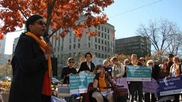 Shanaaz Gokool, national campaigns director for the Toronto-based group, Dying with Dignity addresses supporters in Toronto. The group wants any new assisted dying law to provide advanced consent for assisted death for people who have been told they have a progressive and eventually fatal medical condition such as Alzheimer's disease.