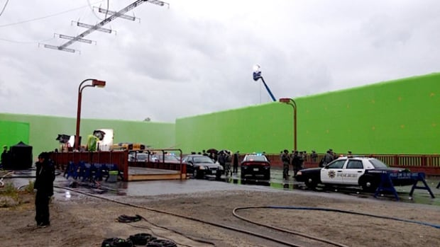 The Air Cover green screen, fully inflated and in use on a movie set.
