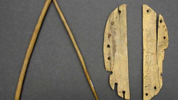 Luther Sousa discovered hieroglyphs of Queen Hatshepsut's throne name on this miniature hoe and rocker.