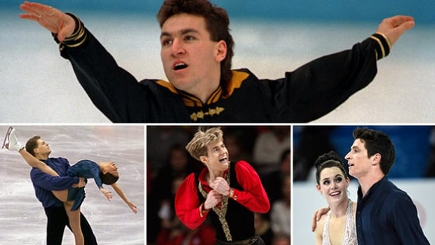 Clockwise: Elvis Stojko, Jamie Sale and David Pelletier, Jeffrey Buttle, Tessa Virtue and Scott Moir have gone on from success at the Four Continents event to bigger things.