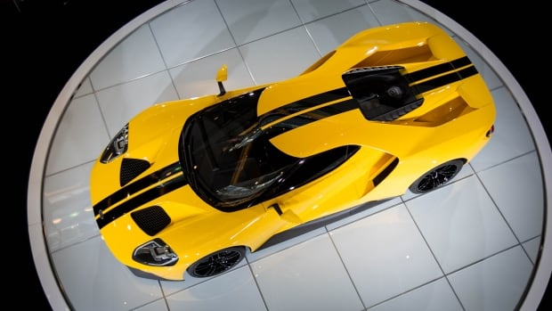 The Ford GT supercar, viewed from an upper level of the Metro Toronto Convention Centre, is being built in limited numbers by Multimatic in Markham, Ont.