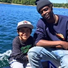 Josiah Wilson and local boy in Bella Bella