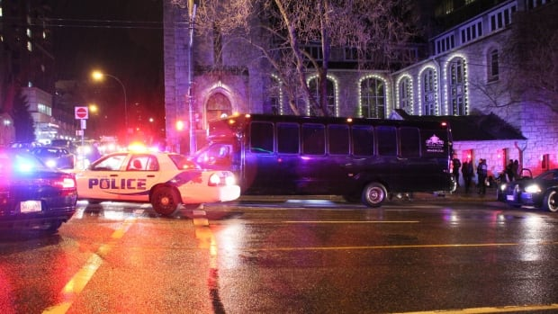 Police were called to a party bus at Burrard and Nelson Streets after a report of an assault.
