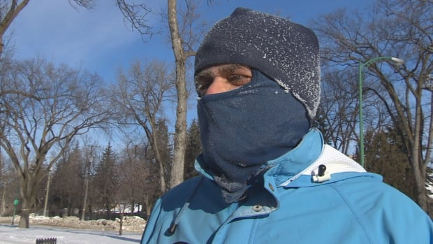 This jogger, spotted in Winnipeg on Saturday, said he doesn't mind the cold.