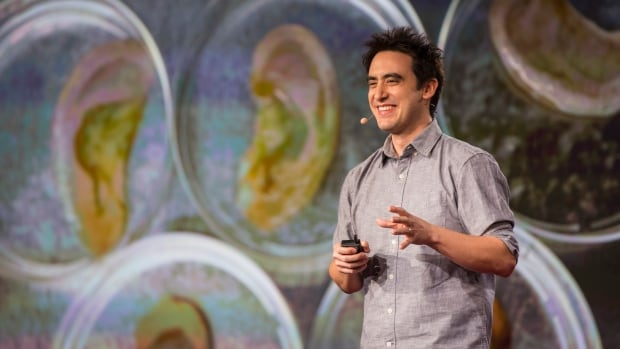 Ottawa scientist Andrew Pelling got some gasps from the TED audience as he showed Petri dishes with ear-shaped apple pieces, growing human cells.