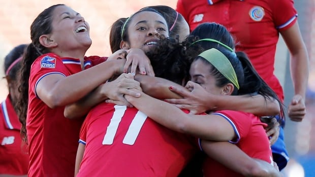 Costa Rica forward Raquel Rodriguez Cedeno (11) scored twice to lead her team to a 2-1 victory over Mexico, which secured their semifinal berth on Monday night.