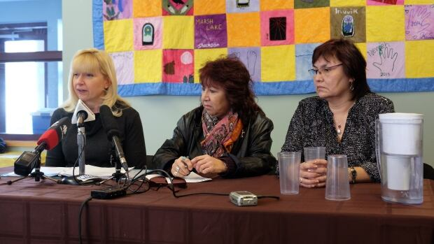 Co-chairs of the regional roundtable on missing and murdered indigenous women: Elaine Taylor, Doris Anderson and Doris Bill.
