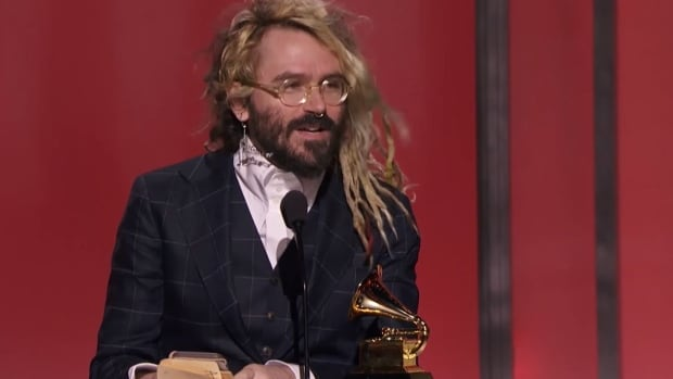 Shawn Everett delivers an acceptance speech after winning a Grammy Award for the Best Engineered Album, Non-Classical at the 58th annual ceremony in Los Angeles on Monday.