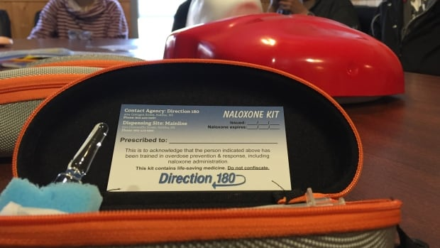 A naloxone training session at Direction 180 in Halifax.