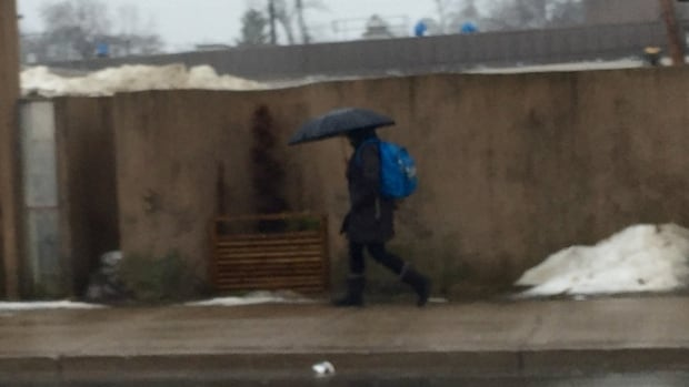 A pedestrian tries to block the rain on an unusually warm day for February.