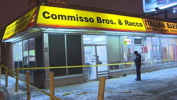 Toronto police arrested three men after a robbery at this 24-hour bakery on Eddystone Avenue.