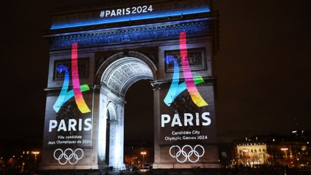 The logo for the Paris 2024 Summer Olympics bid is superimposed on the Arc de Triomphe. Bid leaders say 95 per cent of the venues are already built including historic venues and locations where temporary structures will host events.