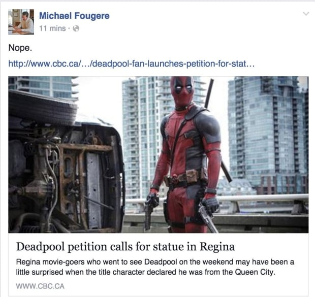Regina Mayor Michael Fougere says no to Deadpool statue
