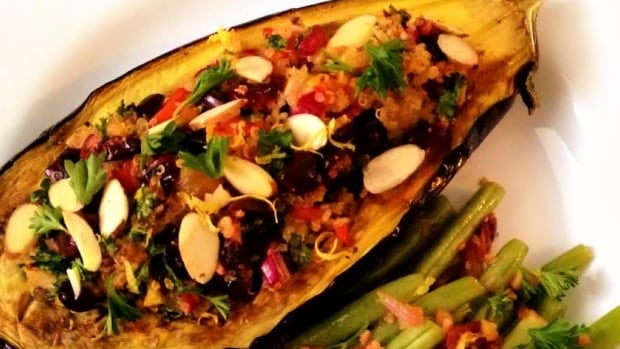 Vegan roasted eggplant with quinoa on D is For Dinner