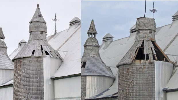 These photos show the extent of the damage sustained by the historic Van Horne barn on Ministers Island during a recent storm.  The first image on the left was taken prior to the storm and the image on the right was taken after the storm.