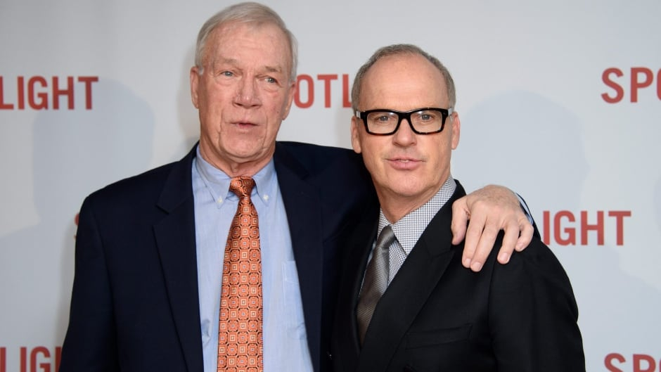 Former Spotlight editor Walter Robinson, with actor Michael Keaton at the premiere of the film 'Spotlight'.