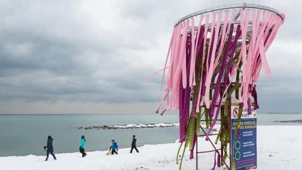 A team from Laurentian University in Sudbury, Ont., created this installation titled Aurora Borealis, as part of the Winter Stations exhibit. The installations have all been built around lifeguard chairs on Toronto's Beach waterfront.