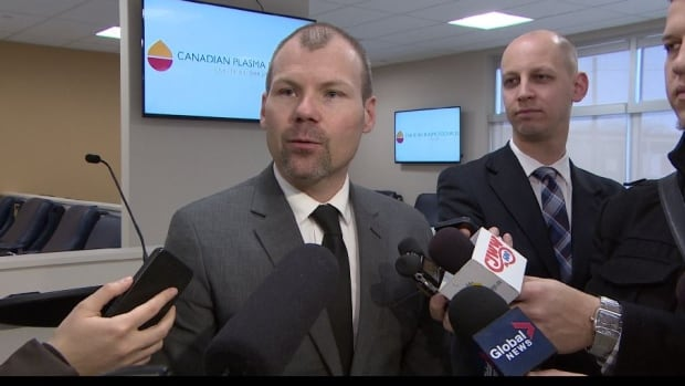 Health Minister Dustin Duncan at Saskatoon's Canadian Plasma Resources.