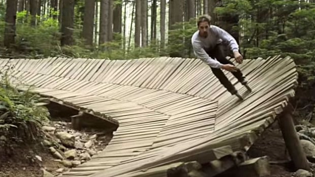Dustin Werbeski banks on a mountain biking trail on Fromme Mountain in a video that's getting lots of attention online.