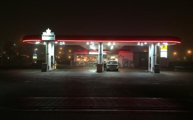 Regina gas station at night