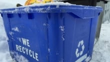 Generic recycling blue box in winter Ottawa