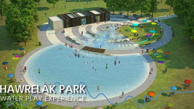 An artist's rendition shows the proposed water play area in Hawrelak Park.