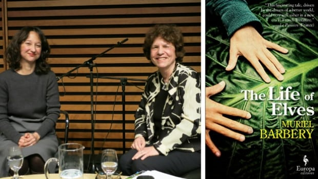 Muriel Barbery and Eleanor Wachtel on stage at the Bluma Appel Salon of the Toronto Reference Library.