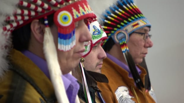 Chiefs Arthur Nosky, Isaac Laboucan-Avirom, James Alook look on as an agreement  establishing a First Nations education authority for the Loon River, Lubicon Lake, Peerless Trout, Whitefish Lake and Woodland Cree first nations is signed by the province and the Kee Tas Kee Now Tribal Council.
