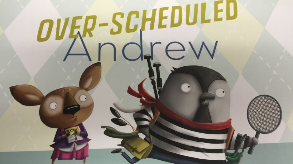 Ashley Spires' s eleventh book, Over-scheduled Andrew, tackles a modern day problem