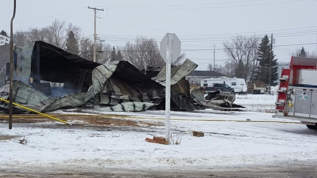 A fire destroyed one of the only businesses in McAuley, Man., on Thursday morning.