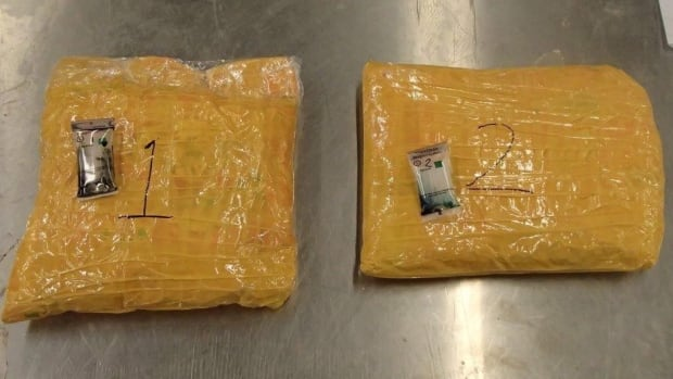 Canada Border Services Agency officers at Pearson International Airport were conducting a routine examination of cargo arriving off a flight from Lahore, Pakistan, on Tuesday when they discovered these two packages of suspected heroin. (Canada Border Services Agency)