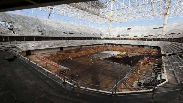 An image from July 2015 shows the construction site of the Rio 2016 Olympic Aquatic sports venue. Officials are hoping the venue will be ready for a test event in April.
