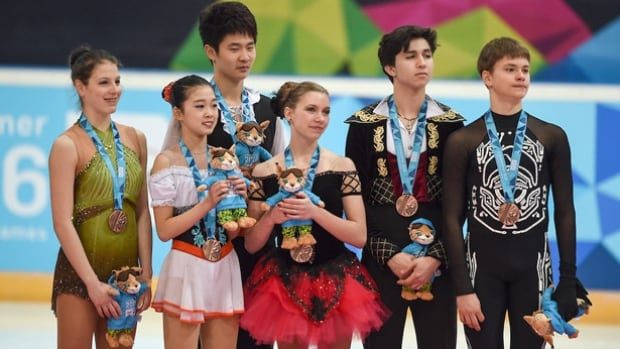 Canadian skaters Marjorie Lajoie, fourth from left, and Zachary Lagha, second from right, were part of the bronze-medal winning team in the figure skating mixed NOC event at the Youth Olympics in Lillehammer.