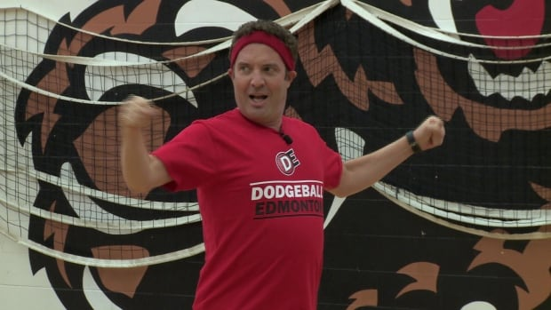 Rick Mercer dove and ducked his way through a dodgeball game in Edmonton on Saturday.