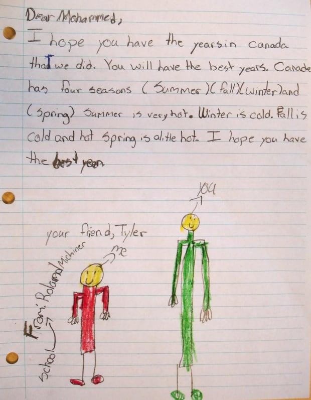 Tyler letter to syrian teen toronto