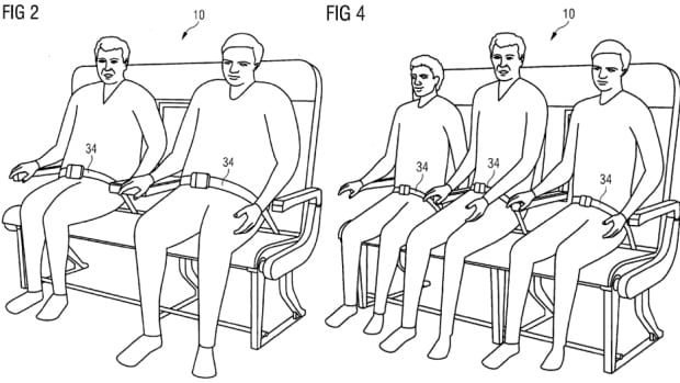 In its patent application, Airbus proposes a bench that could seat three people, or two large people who need some extra space.