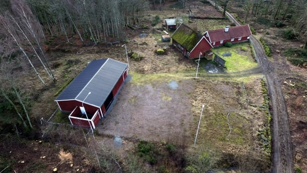 This Feb. 11, 2016 photo shows an aerial view of the farm of 38-year old Swedish doctor Martin Trenneborg, with a specially constructed soundproof bunker seen at left. A Stockholm court on Tuesday sentenced Trenneborg to 10-years in prison for abducting a woman and locking her up in the home-made bunker, but acquitted him of charges of aggravated rape.