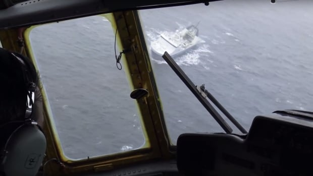 Joint Task Force Atlantic captured video while providing aid to the F/V Saputi after the ship began taking on water on Sunday.
