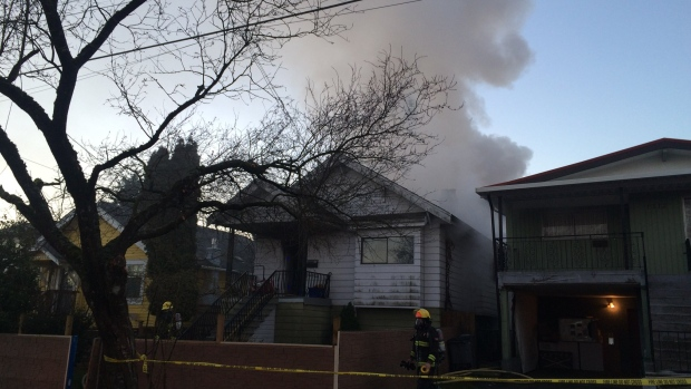 Crews battled a morning fire in Vancouver near Knight Street