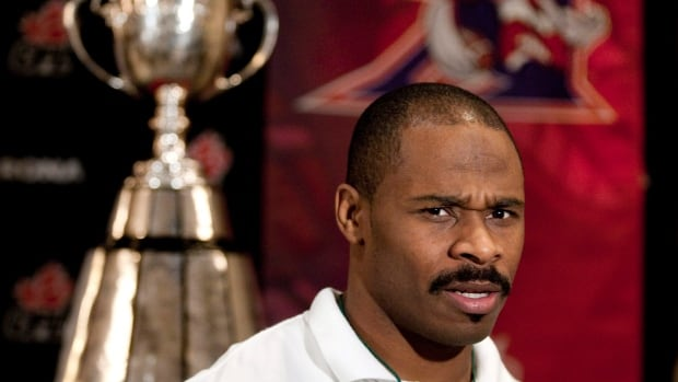 Avon Cobourne talks with reporters ahead of the 2010 Grey Cup game in this file photo.