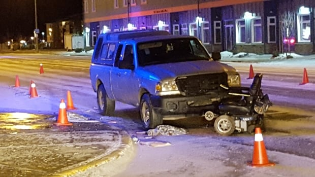 Police have been at the scene of a collision in downtown Whitehorse since 6:30 p.m. yesterday. They are investigating the death of a 71-year-old woman who was operating a motorized wheelchair.