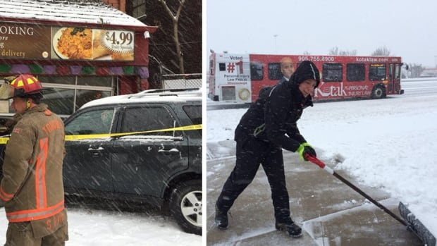 """Images of accidents and snow-shovelling selfies were posted to social media as a """"Texas low"""" low-pressure system brought a storm across eastern Canada."""