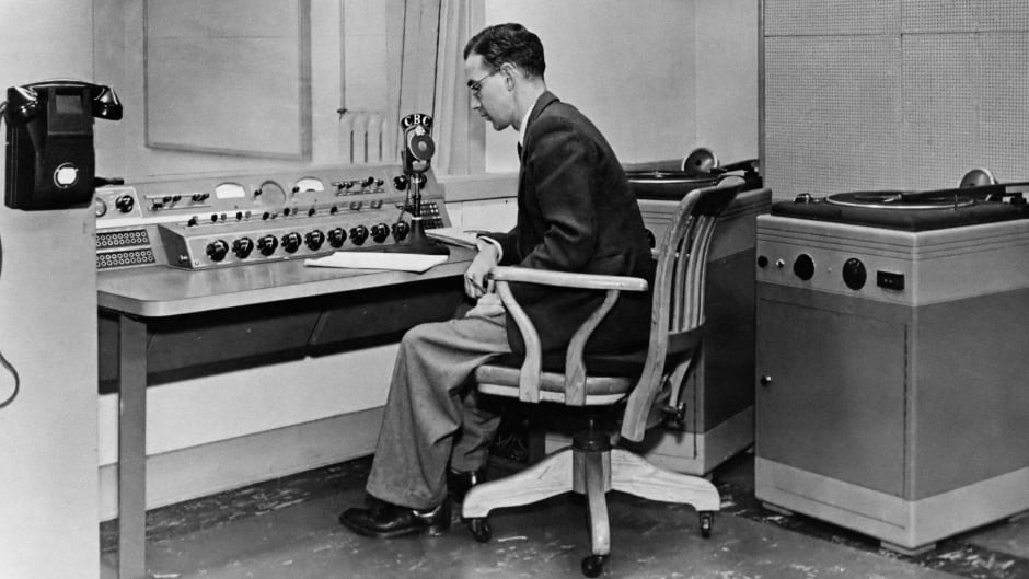 Barry MacDonald, the first station manager of CBC's Sydney bureau, in the control room of the station on the day it opened on Nov. 1, 1948.