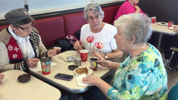 The women meet at the Tim Hortons on Granville Street in Summerside every morning.